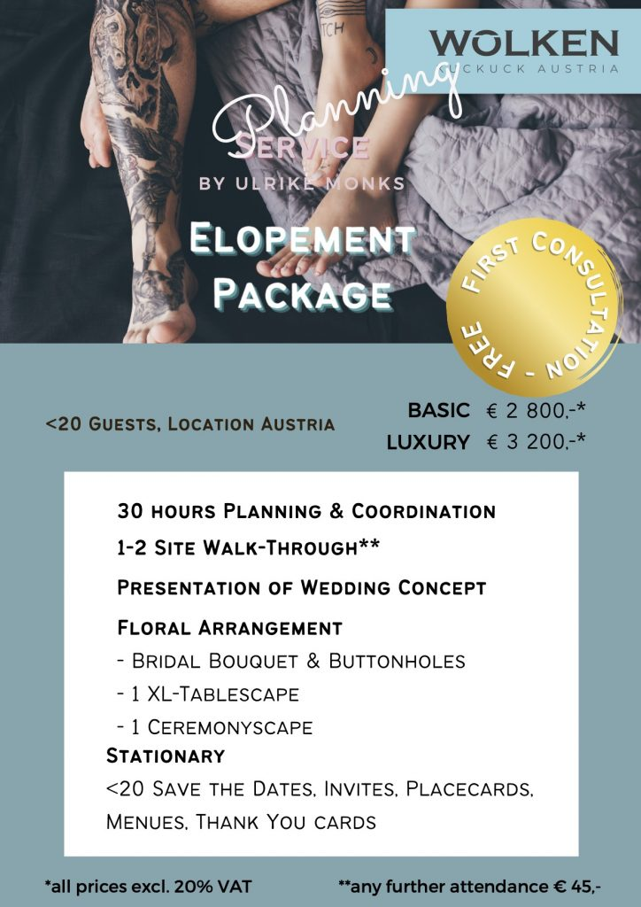 Customize your Wedding experience with the Elopement package by Wolkenkuckuck